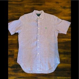 Lavender and white Linen Polo Shirt!